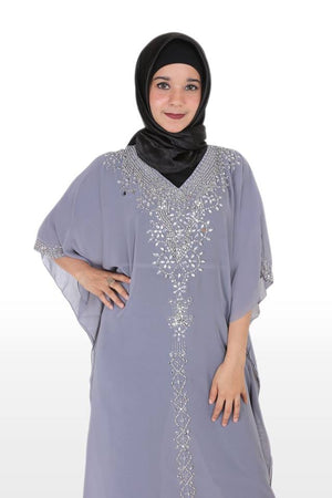 Az-Zahra Kaftan Hand Beaded Women Long Sleeve Chiffon Maxi Dress Grey