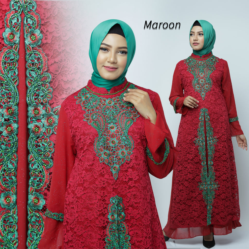 Desita Kaftan Women Long Sleeve Embroidery Brocade Maroon