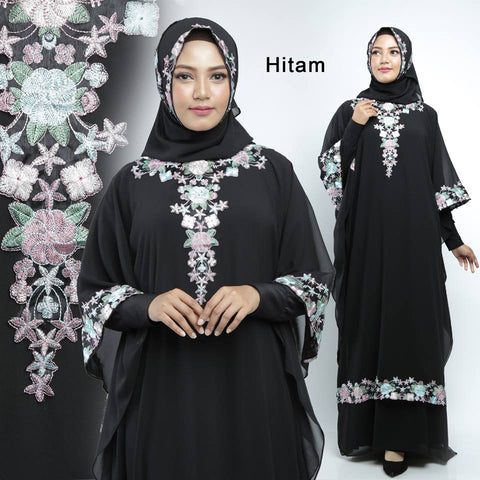Sharifa Abaya Hand Embroidered Long Sleeve Chiffon Maxi Dress Black