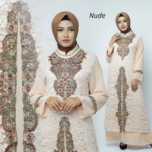 Desita Kaftan Women Long Sleeve Embroidery Brocade Nude