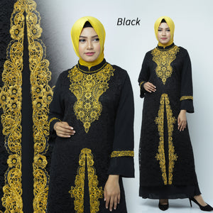 Desita Kaftan Women Long Sleeve Embroidery Brocade Black