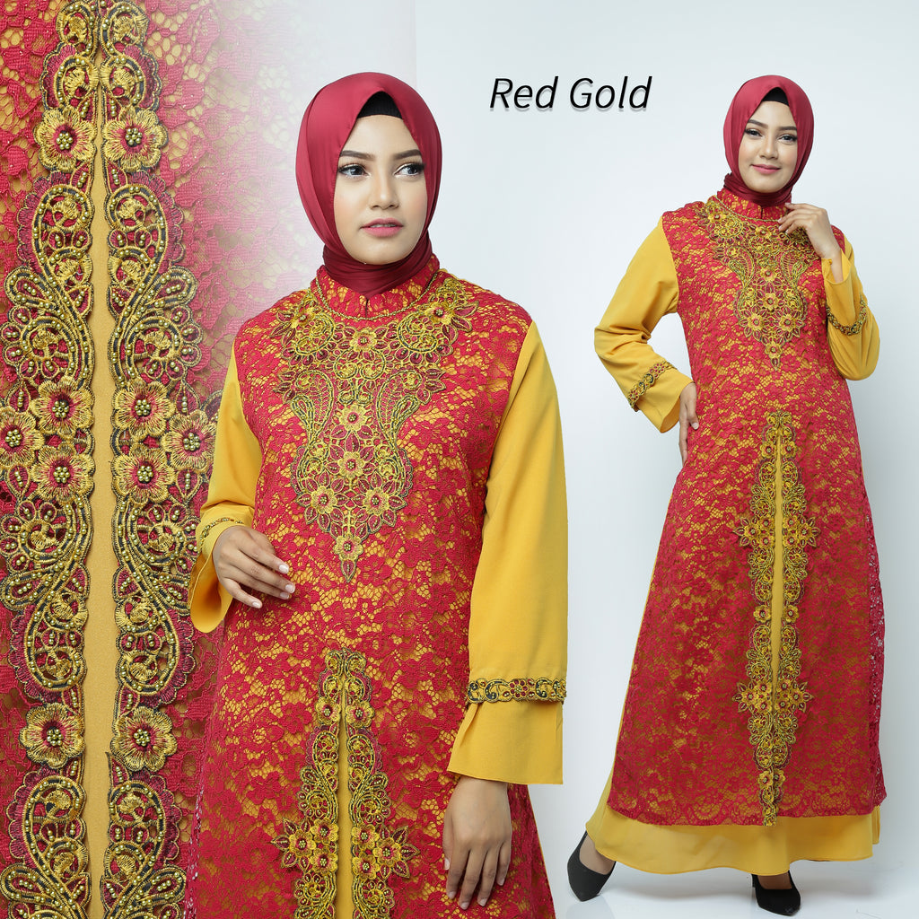 Desita Kaftan Women Long Sleeve Embroidery Brocade Red Gold