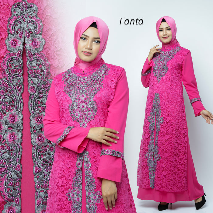 Desita Kaftan Women Long Sleeve Embroidery Brocade Magenta
