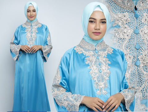 Ashima Kaftan Women Long Sleeve Hand Beaded Satin Light Blue