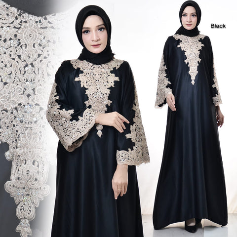 Zafina Embroidered Sequined Velvet Muslim Dresses