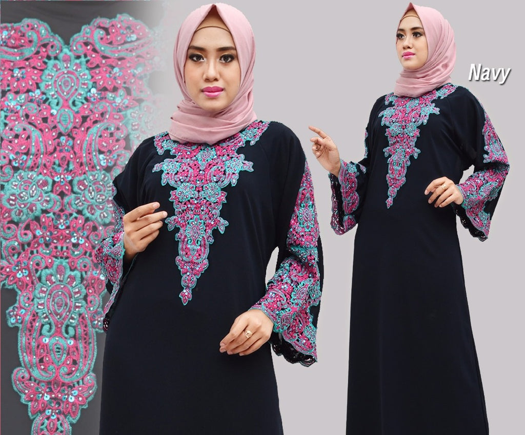 Isyana Embroidered Sequined Chiffon Muslim Dresses Navy
