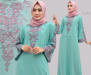 Isyana Embroidered Sequined Chiffon Muslim Dresses Tosca