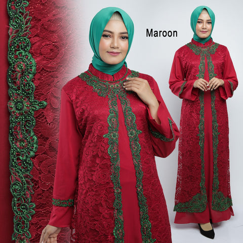 Maryam Kaftan Women Long Sleeve Embroidery Brocade Maroon