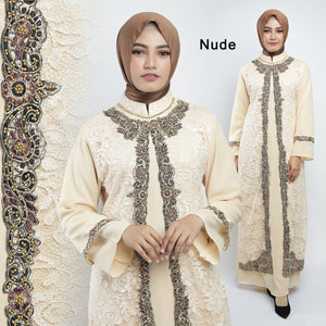 Maryam Kaftan Women Long Sleeve Embroidery Brocade Nude