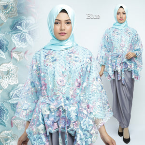 Humaira Modern Kaftan Blouse Embroidered Tulle Blue