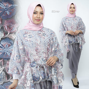 Humaira Modern Kaftan Blouse Embroidered Tulle Shirt Silver
