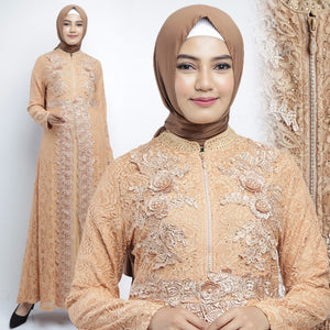 Najwa Kaftan Women Long Sleeve Hand Beaded Brocade Choco