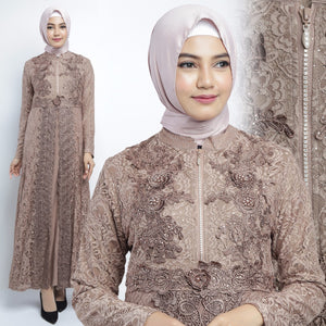 Najwa Kaftan Women Long Sleeve Hand Beaded Brocade Dark Brown
