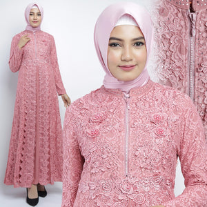 Najwa Kaftan Women Long Sleeve Hand Beaded Brocade Pink