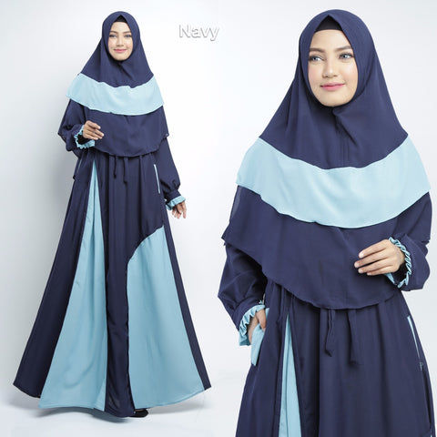 Balqis Abaya Long Sleeve Crepe Maxi Dress Navy