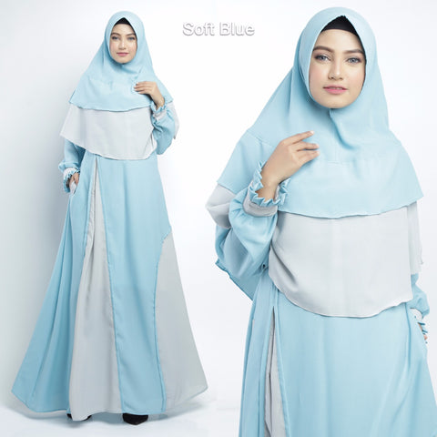 Balqis Abaya Long Sleeve Crepe Maxi Dress Soft Blue