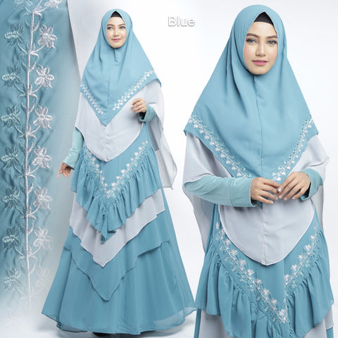 Alisha Abaya Long Sleeve Chiffon Maxi Dress Blue