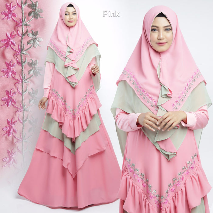 Alisha Abaya Long Sleeve Chiffon Maxi Dress Pink