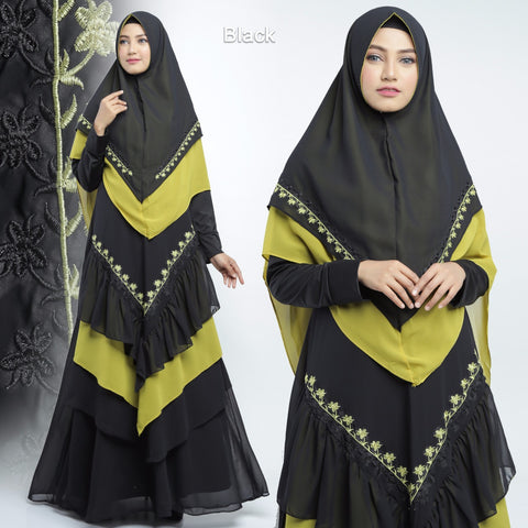 Alisha Abaya Long Sleeve Chiffon Maxi Dress Black
