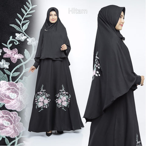 Shabina Abaya Hand Embroidered Long Sleeve Crepe Maxi Dress Black