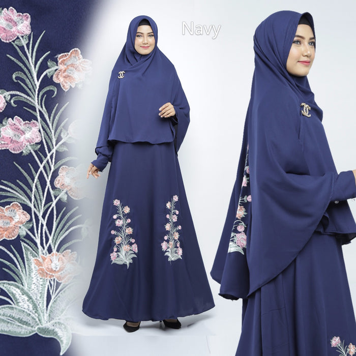 Sahira Abaya Hand Embroidered Long Sleeve Crepe Maxi Dress Navy