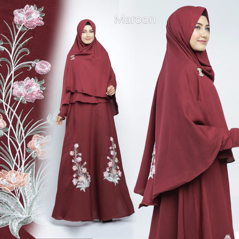 Sahira Abaya Hand Embroidered Long Sleeve Crepe Maxi Dress Maroon