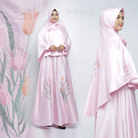 Zazkia Abaya Hand Embroidered Long Sleeve Maxmarra Maxi Dress Soft Pink