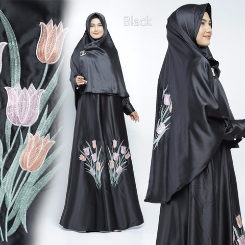 Zazkia Abaya Hand Embroidered Long Sleeve Maxmarra Maxi Dress Black