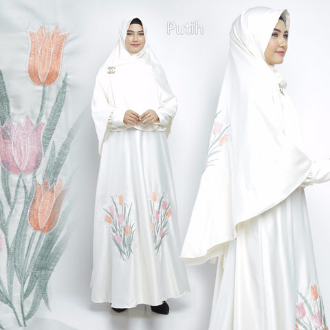 Zazkia Abaya Hand Embroidered Long Sleeve Maxmarra Maxi Dress White