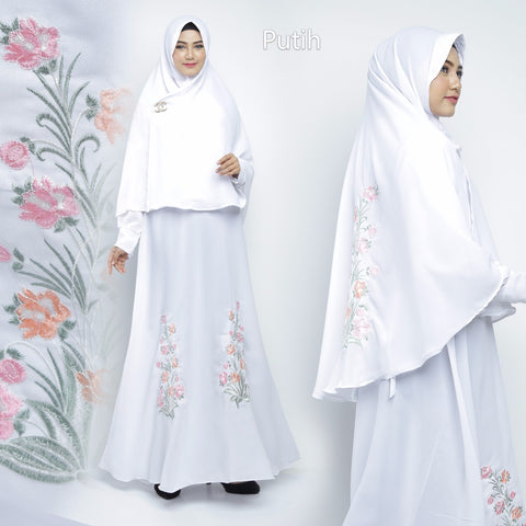 Sahira Abaya Hand Embroidered Long Sleeve Crepe Maxi Dress White