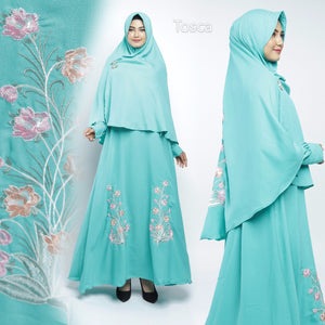 Sahira Abaya Hand Embroidered Long Sleeve Crepe Maxi Dress Tosca