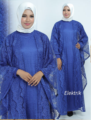 Aliya Kaftan Women Bat Sleeve Luxury Glitter Brocade Blue
