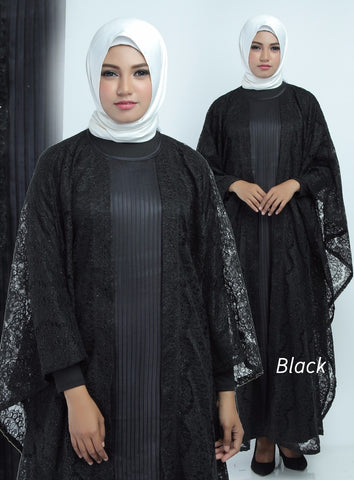 Aliya Kaftan Women Bat Sleeve Luxury Glitter Brocade Black