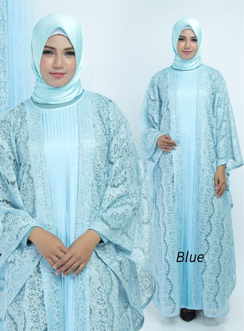 Aliya Kaftan Women Bat Sleeve Luxury Glitter Brocade Soft Blue