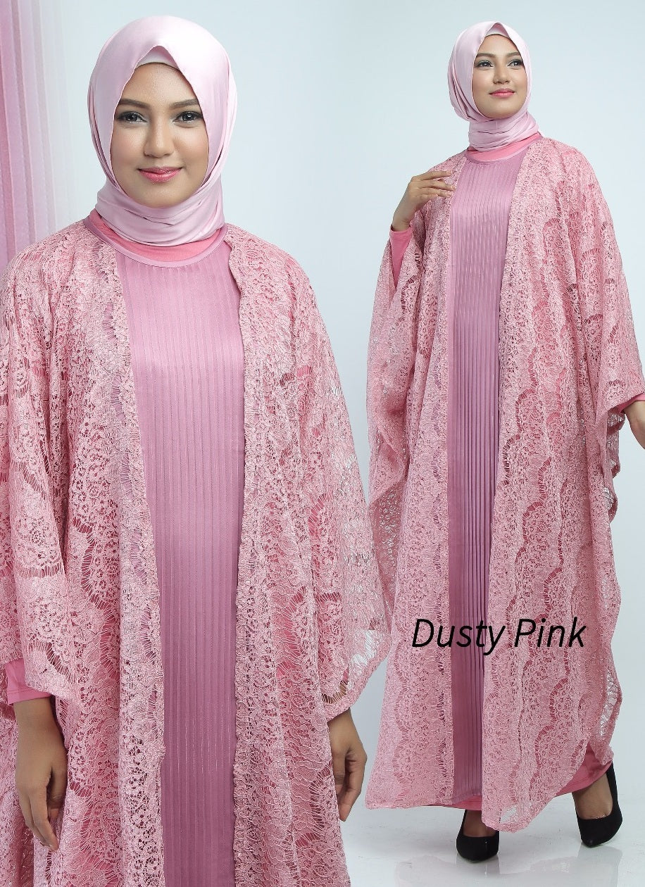 Aliya Kaftan Women Bat Sleeve Luxury Glitter Brocade Pink