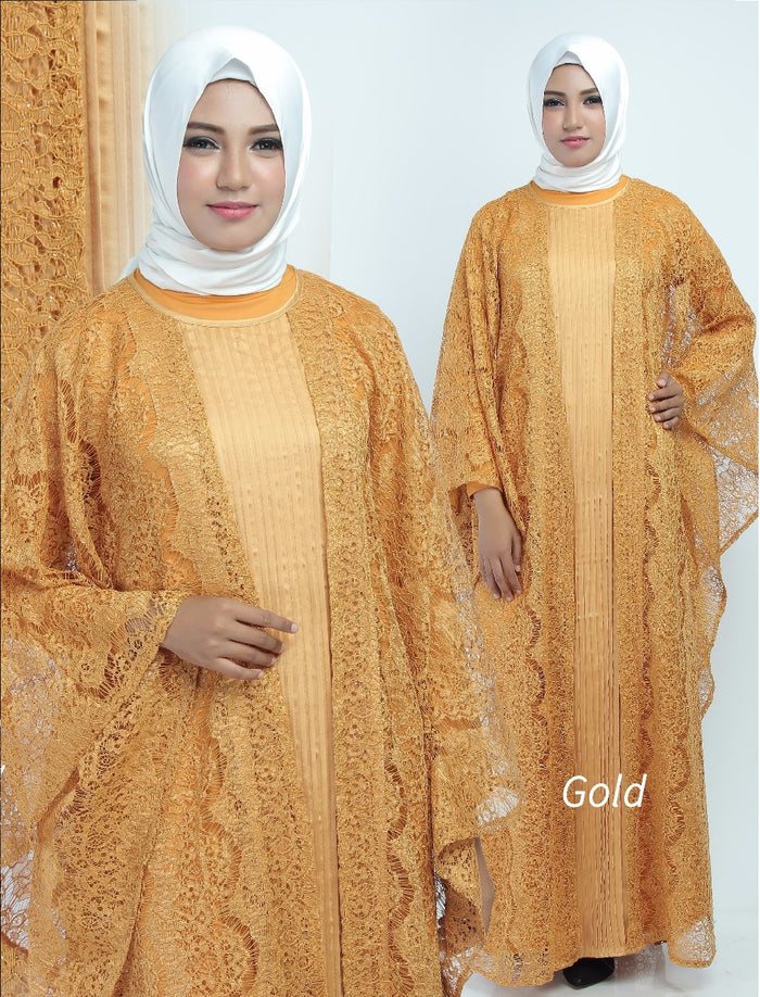 Aliya Kaftan Women Bat Sleeve Luxury Glitter Brocade Gold
