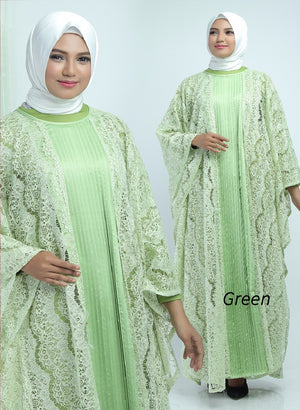 Aliya Kaftan Women Bat Sleeve Luxury Glitter Brocade Soft Green