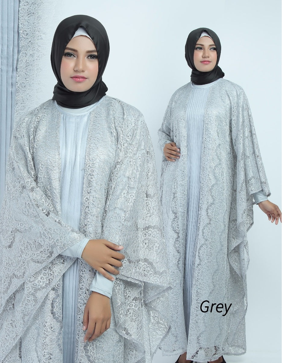 Aliya Kaftan Women Bat Sleeve Luxury Glitter Brocade Silver