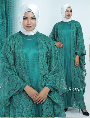 Aliya Kaftan Women Bat Sleeve Luxury Glitter Brocade Green