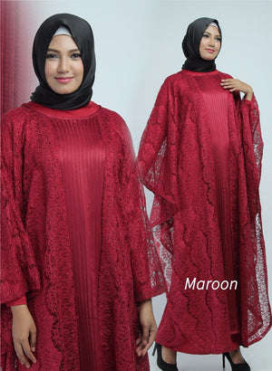 Aliya Kaftan Women Bat Sleeve Luxury Glitter Brocade Maroon