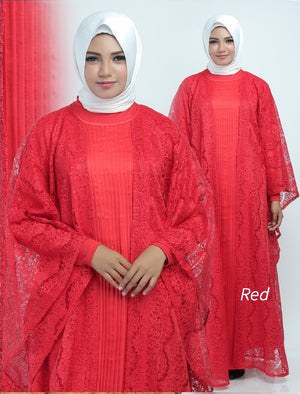 Aliya Kaftan Women Bat Sleeve Luxury Glitter Brocade Red