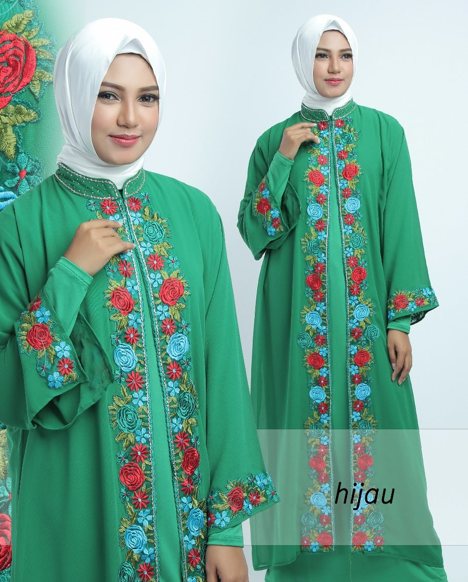 Allendra Embroidered Modern Open Front Abaya Chiffon Dress Green