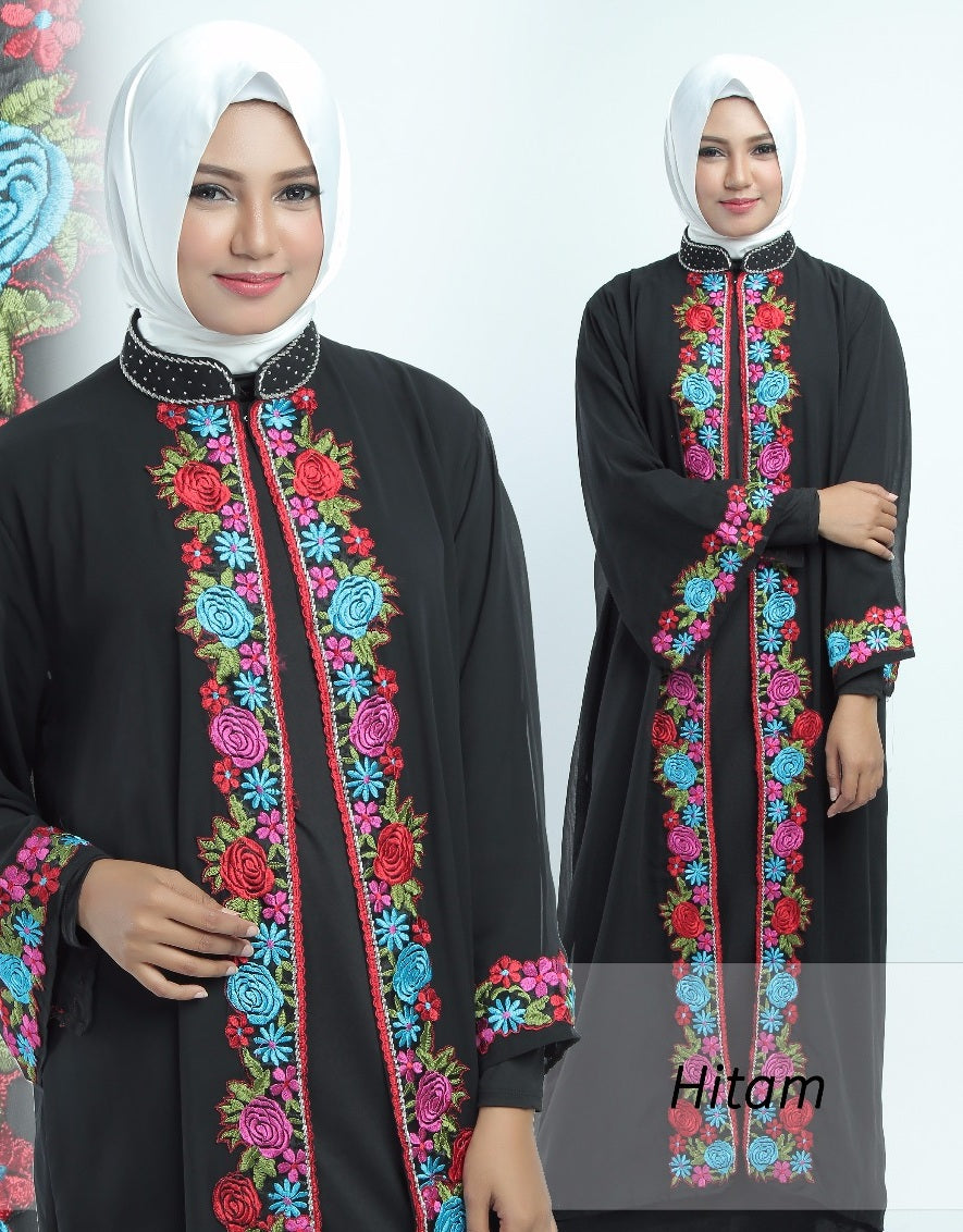 Allendra Embroidered Modern Open Front Abaya Chiffon Dress Black