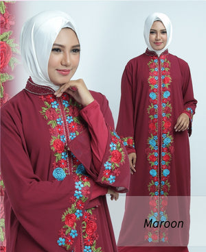 Allendra Embroidered Modern Open Front Abaya Chiffon Dress Maroon