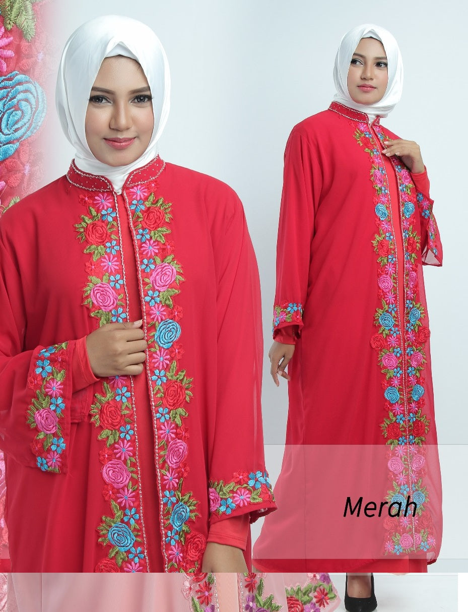 Allendra Embroidered Modern Open Front Abaya Chiffon Dress Red