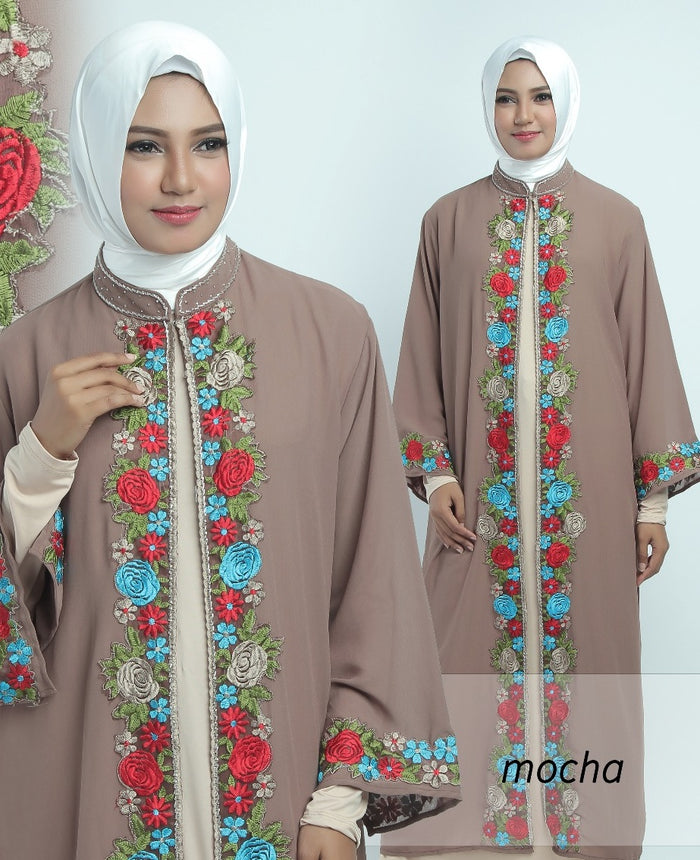 Allendra Embroidered Modern Open Front Abaya Chiffon Dress Brown