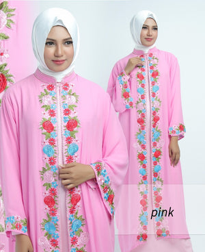 Allendra Embroidered Modern Open Front Abaya Chiffon Dress Pink