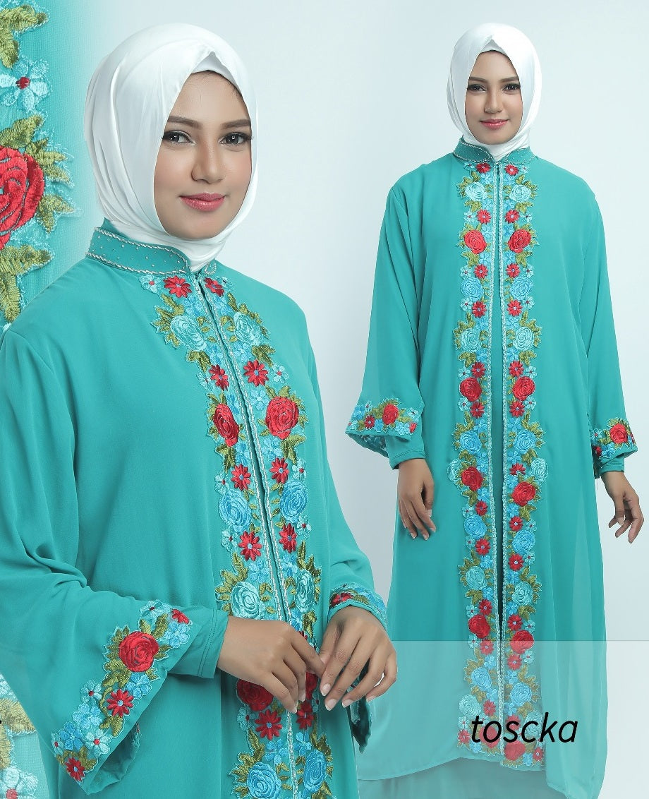 Allendra Embroidered Modern Open Front Abaya Chiffon Dress Tosca