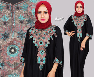 Berna Kaftan Women Short Sleeve Hand Beaded Satin Black