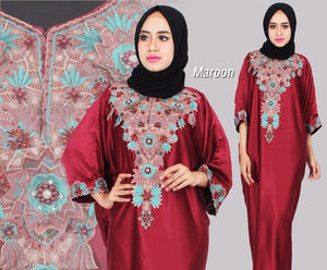 Berna Kaftan Women Short Sleeve Hand Beaded Satin Maroon